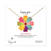 happy gem carnelian necklace, gold dipped, 18 inch