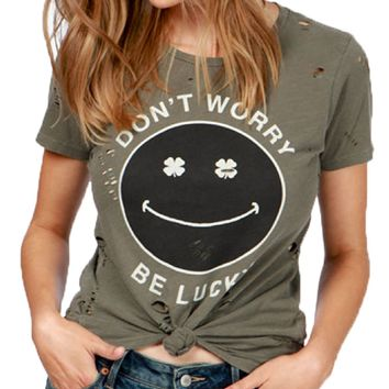Lucky Brand Don't Worry Be Lucky Tee Dark Olive