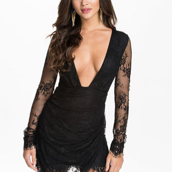 Black Plunge Deep V Long Sleeve Lace Wrap Mini Dress