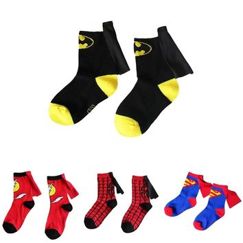 3 to 6Years kids socks cartoon Superman batman flash cloak cotton cape socks boys&girls children cosplay halloween socks