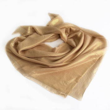 Gold Scarf, Antique Yellow Silk Scarf, Gift for Wife, Birthday Gift for Mother in law Sparkly Gift for Friend, Chemo Head Scarf Striped