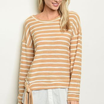 Long sleeve scoop neck striped tunic top