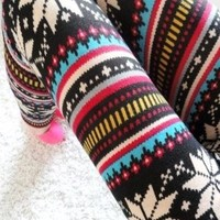 Amour - Women Multicolored Snow Snowflake Christmas Pattern Ankle Length Footless Pantyhose Legging thick Tight Pant One Size