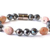 Pink Opal and Faceted Magnetic Hematite Beaded Bracelet, Beaded Jewelry, Handmade Jewelry, Good Health Jewelry