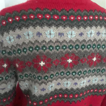 "Vintage Ralph Lauren Zip Front Red Wool Fair Isle Cardigan Sweater, Size Medium Petite, 44"" Bust"