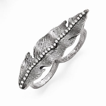 Stainless Antiqued Leaf Two Finger Crystal Ring