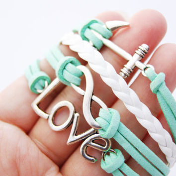 4 Strand Mint Green Infinity Love Anchor Faux Leather Braid Cord Bracelet (Adjustable Sizing)