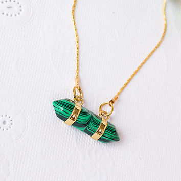 Gold Plated Necklace With malachite point quartz pendant pendant / Gold plated geometric necklace  / Bridesmaid gift / statement necklace
