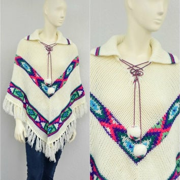 Vintage 70s Boho White Oversize Knit Poncho Cape, Colorful Aztec Print Sweater Cape, Lace Up, Pom Pom Ties, Tassels, One Size Fits Most