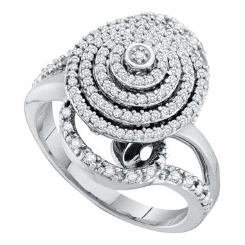 10kt White Gold Women's Round Diamond Concentric Circle Layered Cluster Ring 1-2 Cttw - FREE Shipping (USA/CAN)