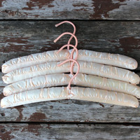 Vintage Set of Four (4) Pale Light Peach Padded Hangers | Child & Baby's Room Decor | Closet Organization
