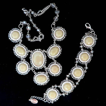 White House Black Market Necklace, Bracelet, Vintage Glass, Rhinestone Demi Parure, Cream Beaded Jewelry Set, Bridal Jewelry