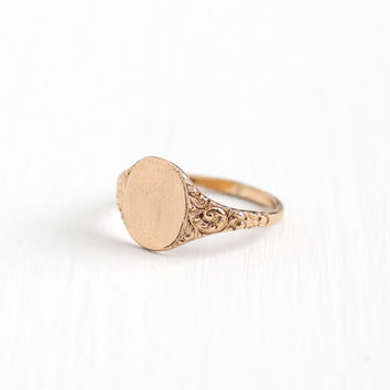 Antique Art Nouveau Rose Gold Filled Blank Signet Ring - Early 1900s Vintage Size 3 3/4 Swirl Blank Initial Monogram Repousse Pinky Jewelry