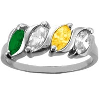 Kay - Family/Mother's Ring Marquise Birthstone Design in 10K/14K Gold