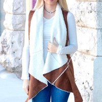 Faux Sherpa + Oil Washed Suede Vest