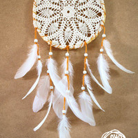 Dream Catcher - Mandala - With White Handmade Crochet Web and White Feathers - Mobile, Home Decor, Decoration