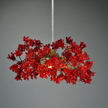 Ceiling lighting Red color jumping flowers , hanging chandelier