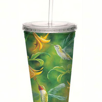 Ruby Throated Hummingbird Wings Cool Cup with Straw - 16 oz