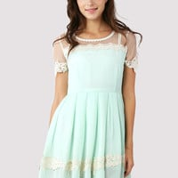 Dolly Floral Lace Trim Mint Dress Green