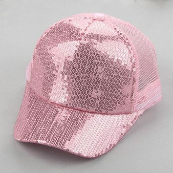 Trendy Winter Jacket SUOGRY New Summer Children  Sequins Cap Baseball Cap Girls Children Adjustable SnapBack Casquette AT_92_12