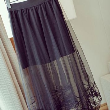 Sexy Ladies Gauze Sheer Lace Floral Gothic Long Maxi Skirt (White or Black)