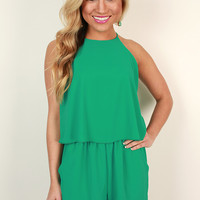 Hello Honey Romper in Emerald