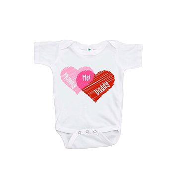 Custom Party Shop Unisex Baby's Mommy + Daddy = Me Valentine Onepiece