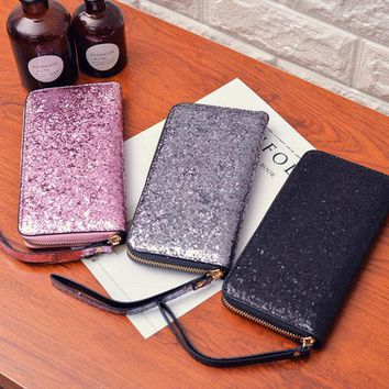 Glittery Sparkling Clutch Wallet Zipper Money Purse