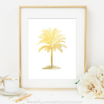 PALM TREE Faux Gold Foil Art Print