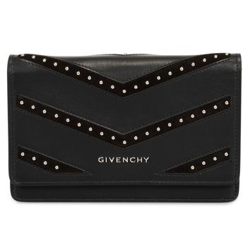 Givenchy Pandora Black Studded Leather Chain Wallet