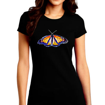 TooLoud Watercolor Monarch Butterfly Juniors Petite Crew Dark T-Shirt