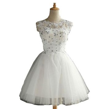 Natural White Homecoming Dresses Short Ball Gown Lace Applique Tulle Crystal Graduation Dresses