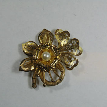 Gold Flowerwith Center Faux Pearl Steampunk Brooch VintageCostume Jewelry