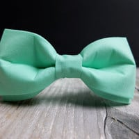 Intensiv Mint Bow Tie for Men by BartekDesign: pre tied grooms wedding classic chic handmade gift for him pastel green mint