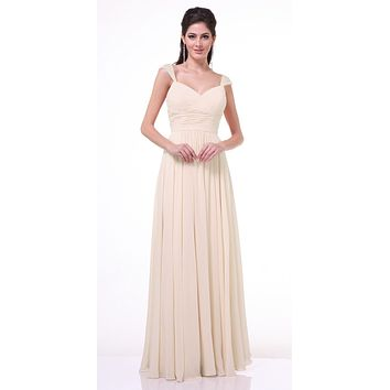 Chiffon Beaded Cap Sleeve Sweetheart Bridesmaid Dress Champagne