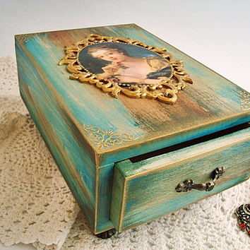 Drawer box jewelry, Wooden drawer, Retro lady Baroque box , Renaissance box, Keepsake Box  Wooden  Rustic Wood Box