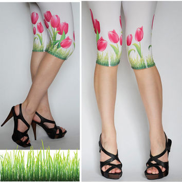 White Unique Tulip Design Tights,Stretch Womens Legging,Pink Green Print Flowers,Tattoo Leggings,Clothing Tights Handmade