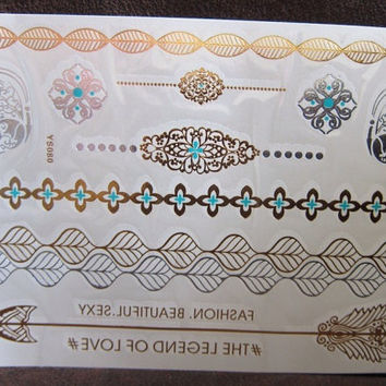 METALLIC TEMPORARY TATTOOS Butterfly, Metallic Tattoos, gold and turquoise  Tattoos, skin jewelry tattoos, Gypsy tattoos, Boho  tattoos