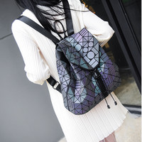 Fashion brand Chameleon Reflective Casual Backpack Women Geometric Plaid school bag Holographic Backpack