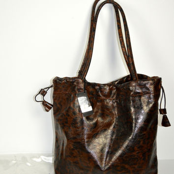 FURLA new Leather Tote Leopard Print with Dust Bag Purse