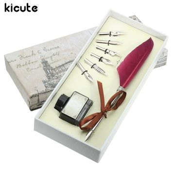 Vintage Quill Feather Dip Pen Set with Stationery Gift Box