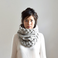 Super Chunky Cowl Scarf, Cable Knit Infinity Scarf, Warm Winter Scarf, Snood Scarf