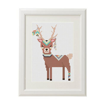 Deer Cross Stitch Pattern baby Forest animals Baby Cross stitch pattern animal arrow feathers pens ethnic design pattern crossstitching