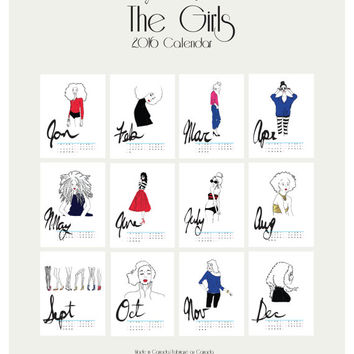 Printable The Girls (White) -  Daily Planner Illustrated 2016 Calendar. Art Calendar (Wall Calendar) Fashion illustration print.