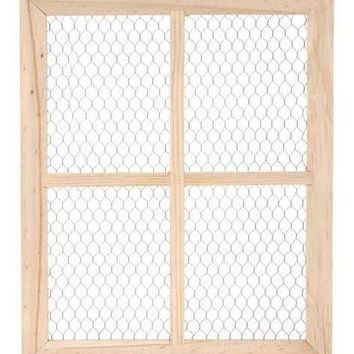 "Wood and Chicken Wire Frame with 4 Panels - Wall Decorations - 20"" Tall"