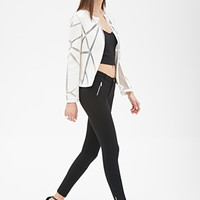 FOREVER 21 Zippered Stretch Knit Pants Black