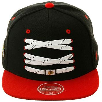 Zephyr 2Tone Skate Lacer Chicago Blackhawks Snapback Hat - Black, Red | Hat Club