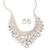 Glamorous Gold Tone and Crystal Fashion Necklace and Earring Set