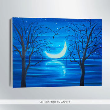MOON PAINTING-oil painting-9x12-wall decor-christmas gift-romantic art-skyline-moon light-art-moon art-gift for her-sea painting-home decor.