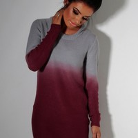 Hawthorn Red & Grey Oversized Ombre Jumper Dress | Pink Boutique